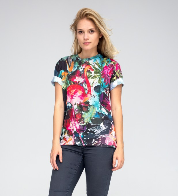Colorful Flamingo t-shirt Miniature 2