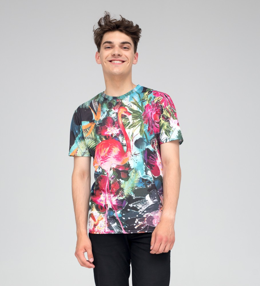 Mr. Gugu & Miss Go, Colorful Flamingo t-shirt Image $i