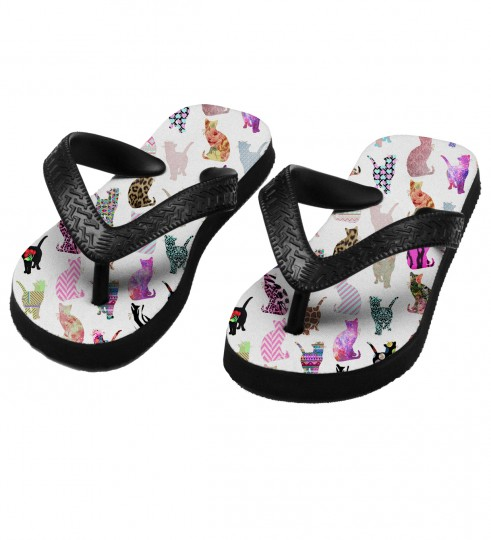 Comic Cat Pattern flip flops for kids Thumbnail 1