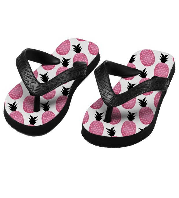 Pink pineapple flip flops for kids Thumbnail 1