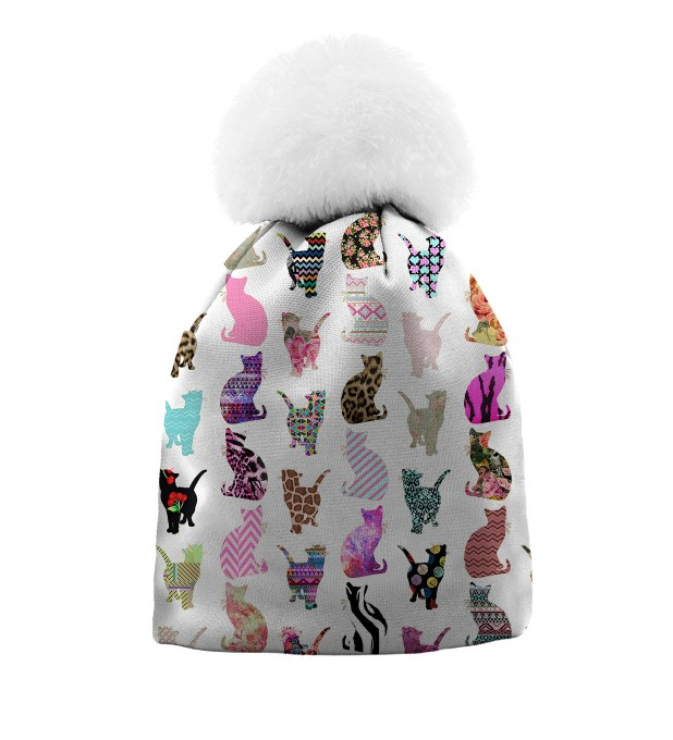 Comic Cat pattern beanie for kids Thumbnail 1