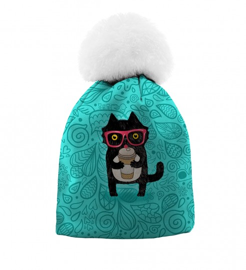 Coffee Cat beanie for kids Thumbnail 1
