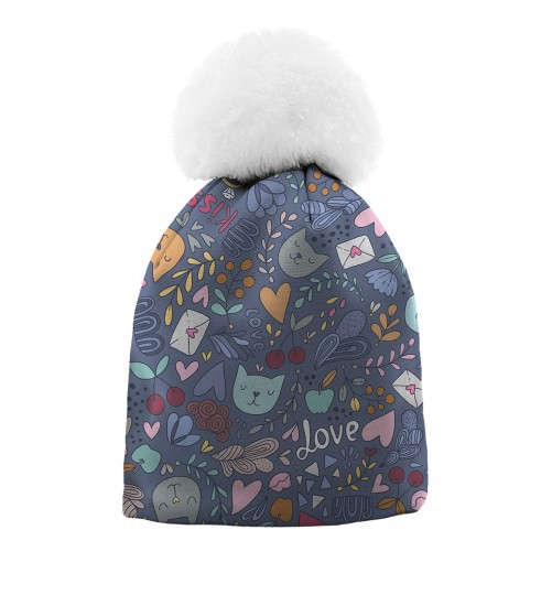 Romantic Cats beanie for kids Thumbnail 1