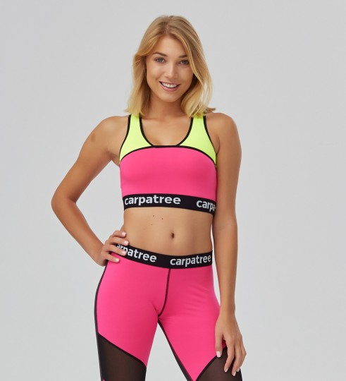 Fluo Pink & Green Crop top Thumbnail 1