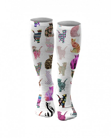 Comic Cat Pattern knee socks Thumbnail 1