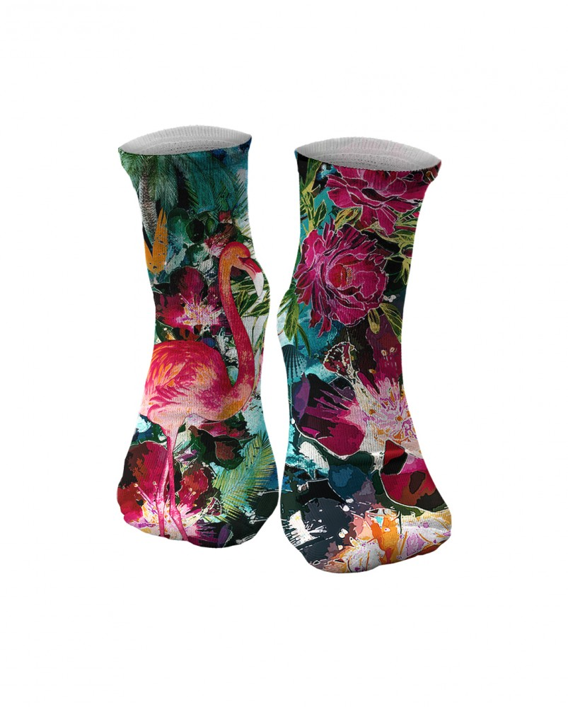 Mr. Gugu & Miss Go, Colorful Flamingo midi socks Image $i