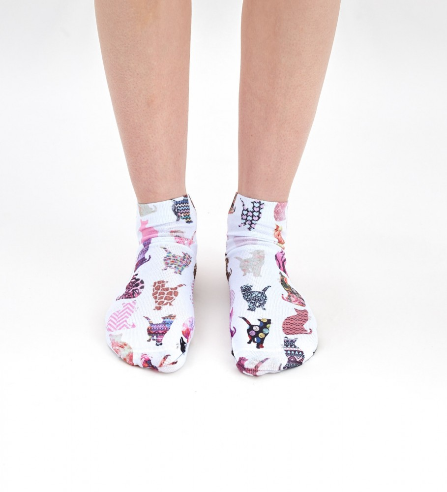 Mr. Gugu & Miss Go, Comic Cat Pattern socks Image 1