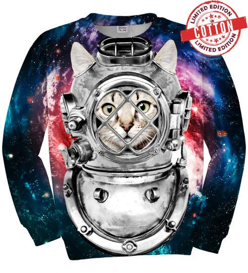 Astronaut Cat cotton sweater Miniature 1
