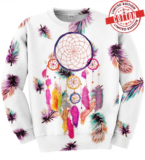 Feathers dreamcatcher cotton sweater Miniature 1