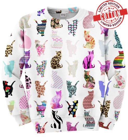 Comic Cat Pattern cotton sweater Miniature 1