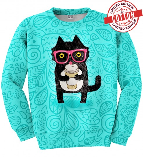 Coffee Cat cotton sweater Miniature 1