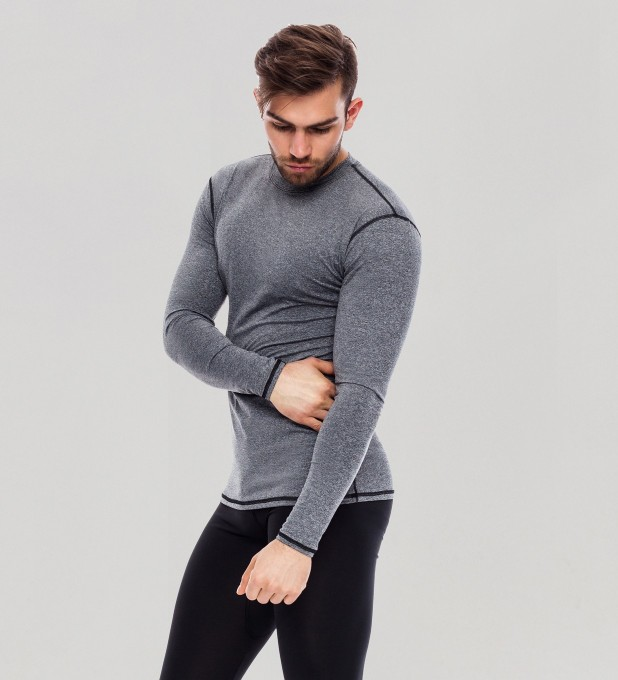 Grey Plain Basic Rashguard Thumbnail 1