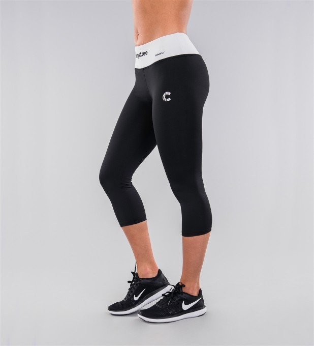 Plain Black & White Belt Capri Leggings Thumbnail 1