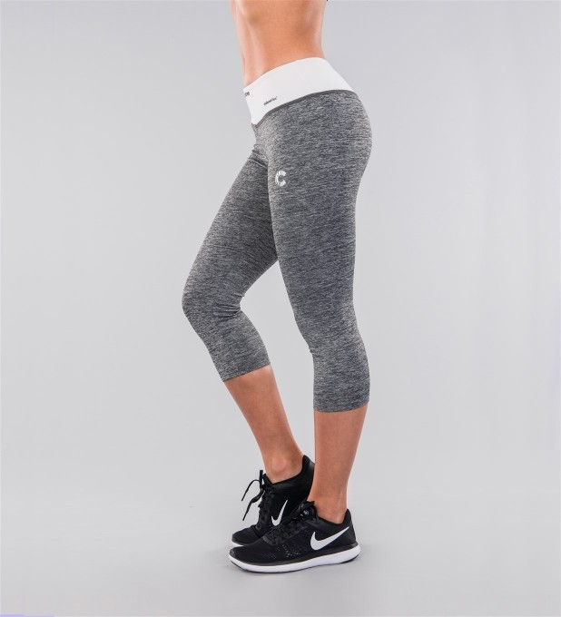 Grey Melange & White Belt Capri Leggings Miniatura 2