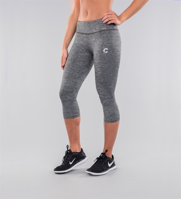 Grey Melange Capri Leggings Thumbnail 1