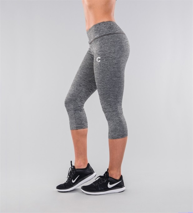 Grey Melange Capri Leggings Thumbnail 2
