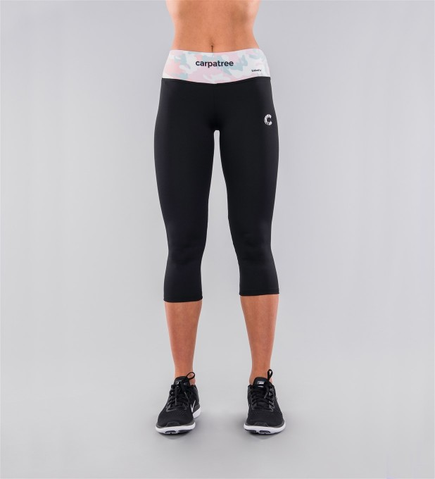 Plain Black & Pastel Camo Belt Capri Leggings Thumbnail 2