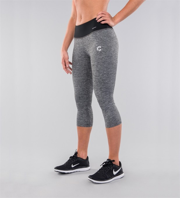 Grey Melange & Black Belt Capri Leggings Miniatura 1