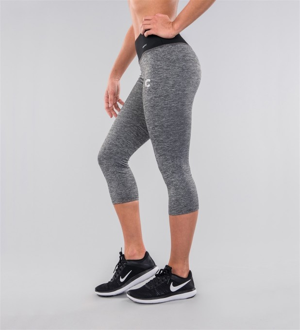 Grey Melange & Black Belt Capri Leggings Miniatura 2