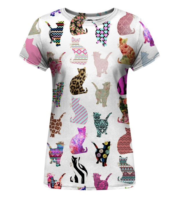 Comic Cat Pattern Womens t-shirt Thumbnail 1