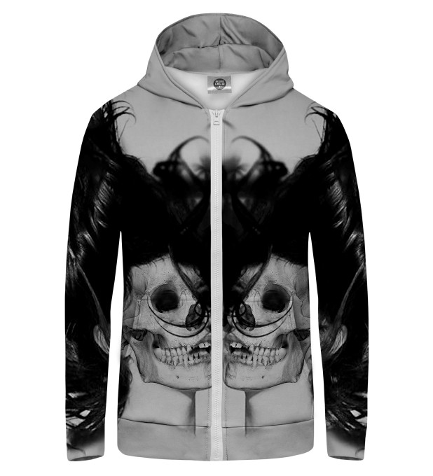BLACK SKULL GIRL NET Zip Up Hoodie Thumbnail 1