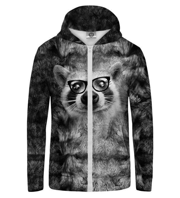 HIPSTER Raccoon Zip Up Hoodie Thumbnail 1