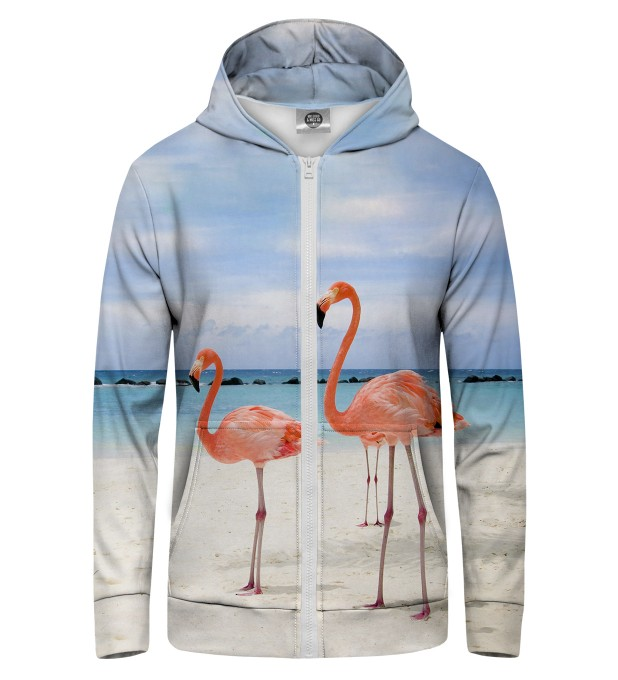 FLAMINGOS ON THE BEACH Zip Up Hoodie Thumbnail 1