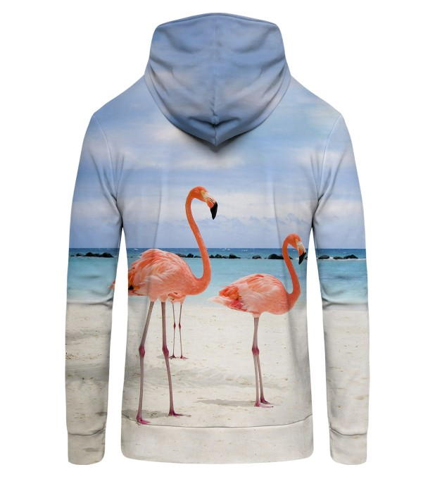 FLAMINGOS ON THE BEACH Zip Up Hoodie Thumbnail 2
