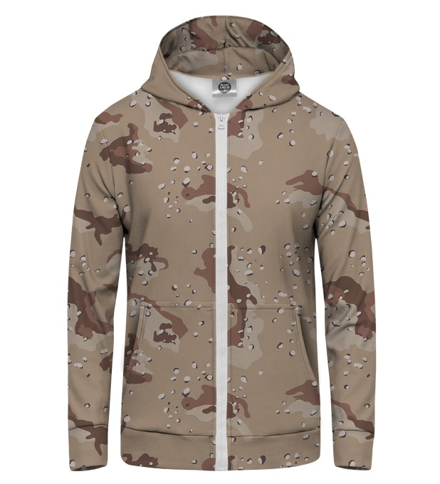 Khaki Military Zip Up Hoodie Thumbnail 1