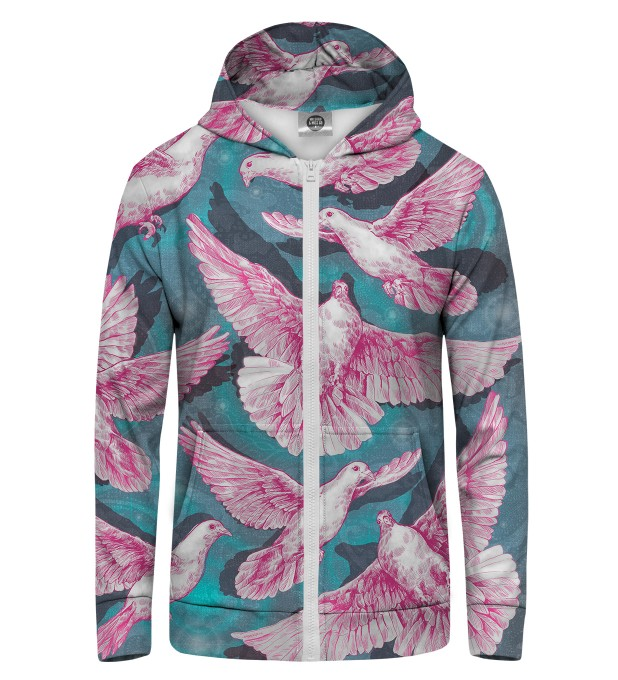 pink doves Zip Up Hoodie Thumbnail 1
