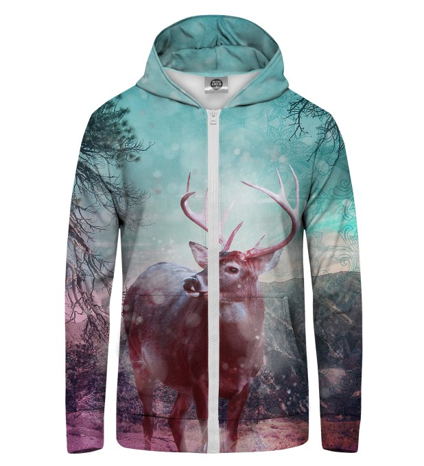 HIPSTER DEER Zip Up Hoodie Thumbnail 1