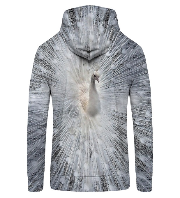 white peacock Zip Up Hoodie Thumbnail 2
