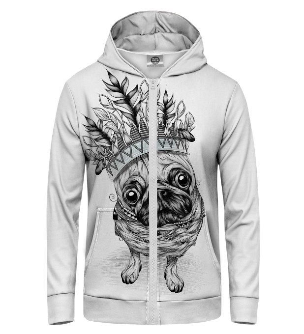 King Pug Zip Up Hoodie Thumbnail 1