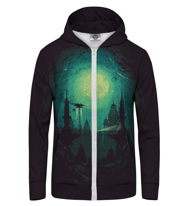 Futuristic City Zip Up Hoodie Thumbnail 1
