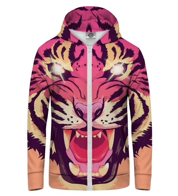 Comic Tiger Zip Up Hoodie Miniature 1