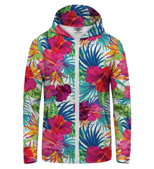 Jungle Flowers Zip Up Hoodie Thumbnail 1