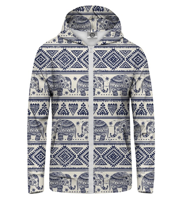 Elephants Pattern Zip Up Hoodie Miniature 1