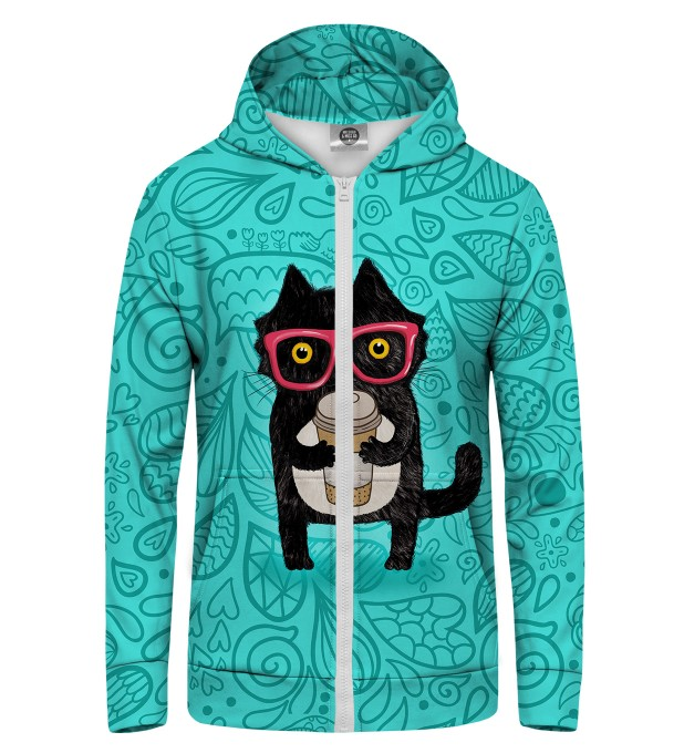 Coffee Cat Zip Up Hoodie Thumbnail 1