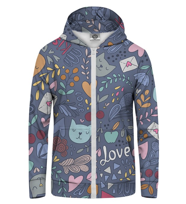 Romantic Cats Zip Up Hoodie Thumbnail 1