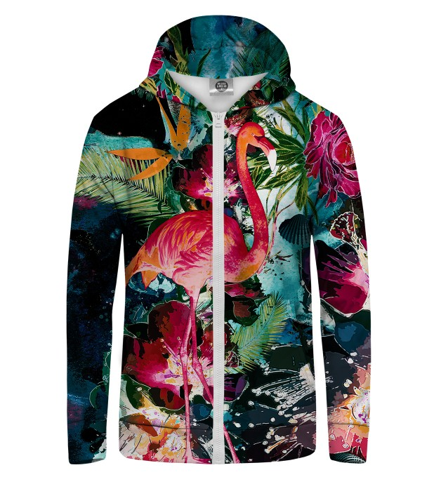 Colorful Flamingo Zip Up Hoodie Thumbnail 1