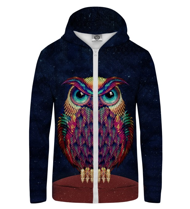 Space Owl Zip Up Hoodie Thumbnail 1
