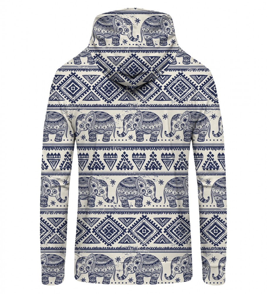 Mr. Gugu & Miss Go, Elephants Pattern Zip Up Hoodie Image $i