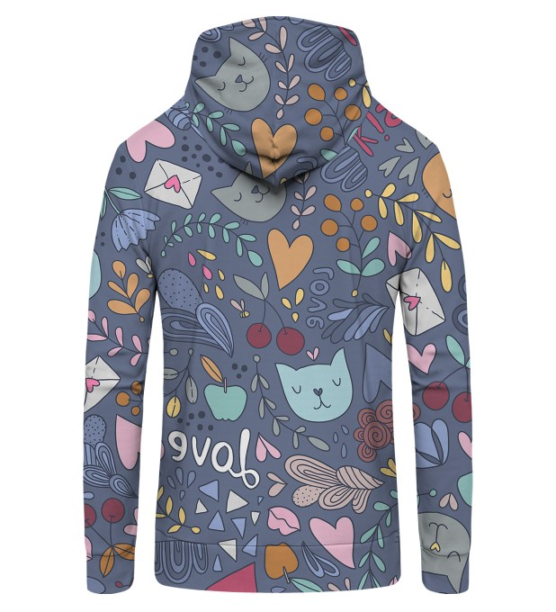 Romantic Cats Zip Up Hoodie Miniature 2
