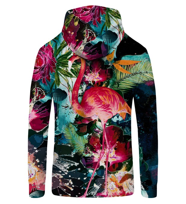 Colorful Flamingo Zip Up Hoodie Thumbnail 2