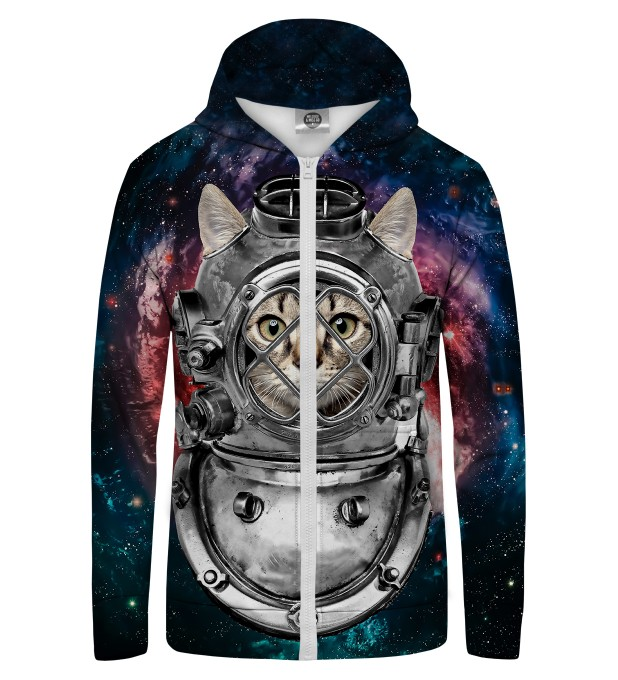 Astronaut Cat Zip Up Hoodie Thumbnail 1