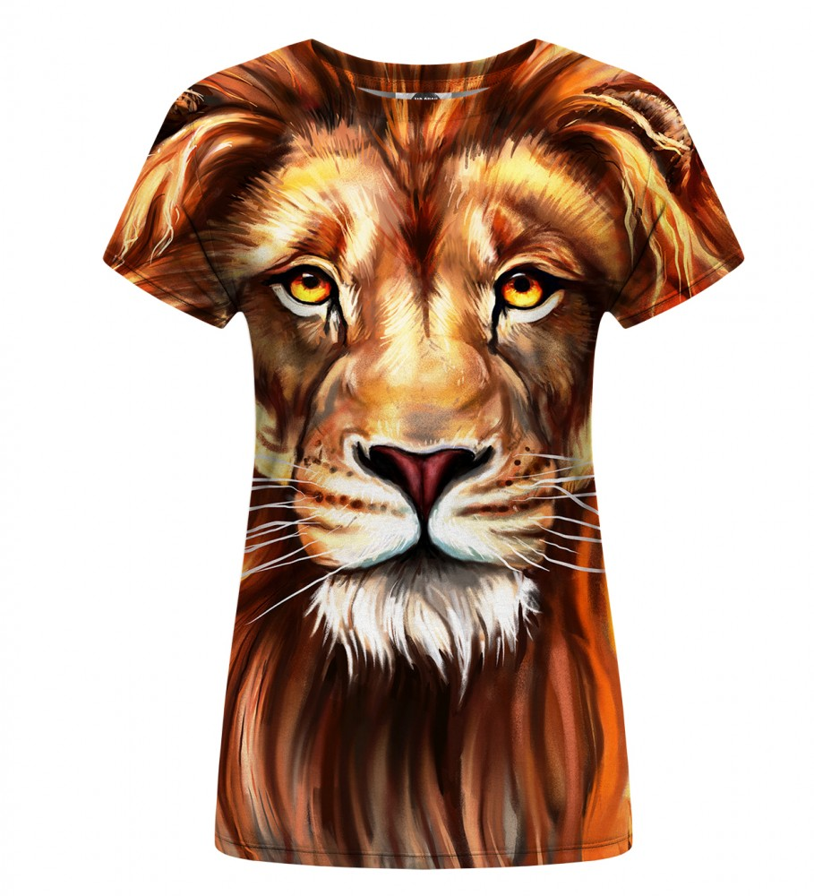 Mr. Gugu & Miss Go, Oil Painting Lion womens t-shirt Imagen $i
