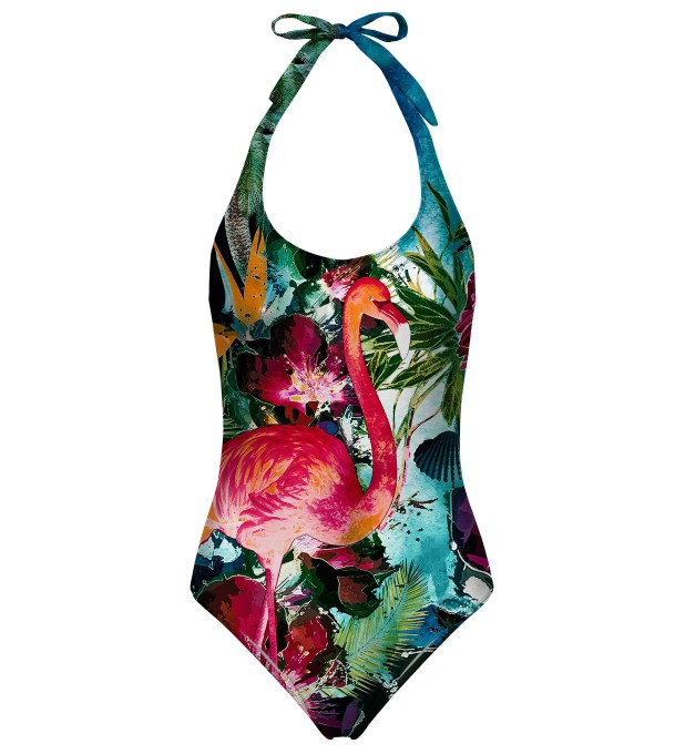 Colorful Flamingo open back swimsuit Miniaturbild 1