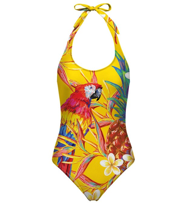 Paradise parrots open back swimsuit Miniature 1