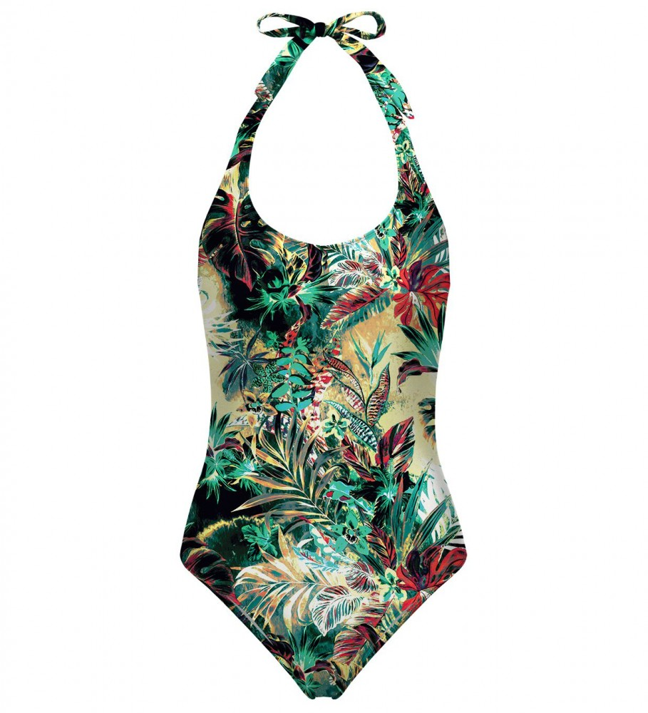 Mr. Gugu & Miss Go, Tropical Jungle open back swimsuit Image $i