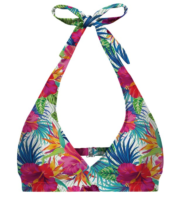 Jungle Flowers halter neck bikini top Miniature 1